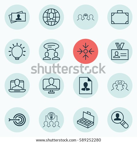 Set Of 16 Business Management Icons. Includes Cooperation, Social Profile, Portfolio And Other Symbols. Beautiful Design Elements. #589252280