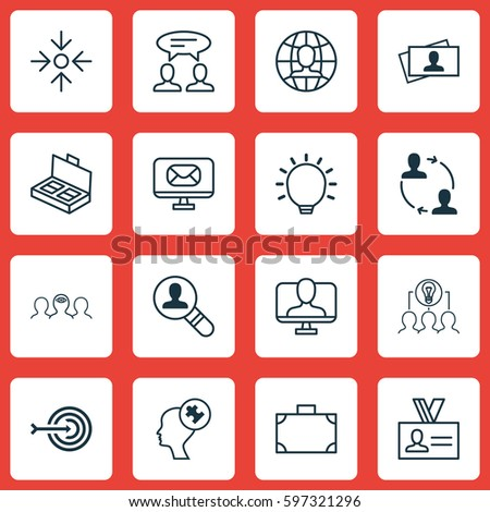 Set Of 16 Business Management Icons. Includes Dialogue, Collaborative Solution, Great Glimpse And Other Symbols. Beautiful Design Elements. #597321296