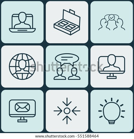 Set Of 9 Business Management Icons. Includes Dialogue, Email, Global Work And Other Symbols. Beautiful Design Elements. #551588464
