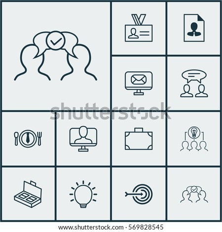 Set Of 12 Business Management Icons. Includes Dialogue, Portfolio, Online Identity And Other Symbols. Beautiful Design Elements. #569828545