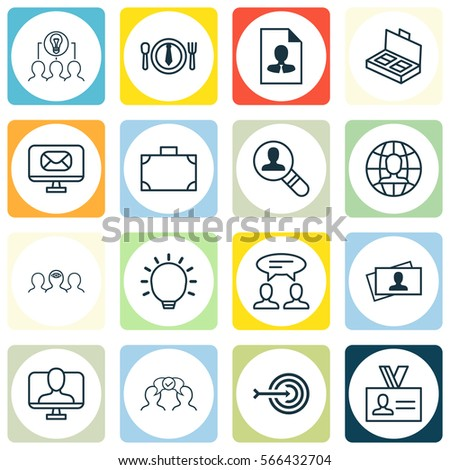 Set Of 16 Business Management Icons. Includes Dinner, Global Work, Calling Card And Other Symbols. Beautiful Design Elements. #566432704