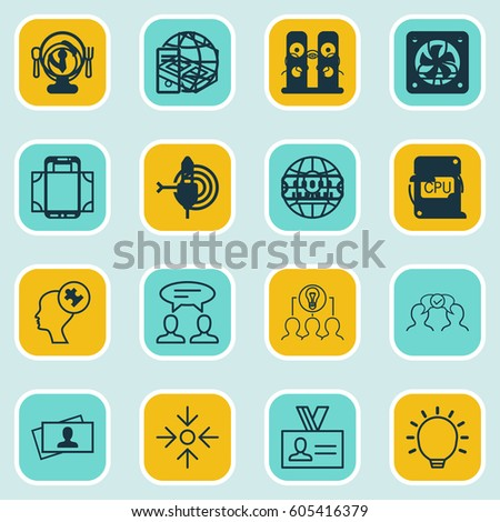 Set Of 16 Business Management Icons. Includes Dinner, Portfolio, Human Mind And Other Symbols. Beautiful Design Elements. #605416379