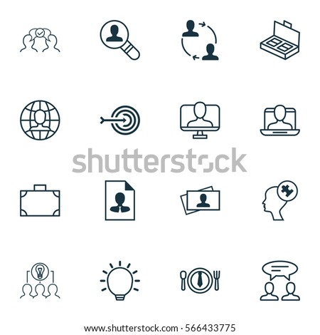 Set Of 16 Business Management Icons. Includes Global Work, Open Vacancy, Great Glimpse And Other Symbols. Beautiful Design Elements. #566433775