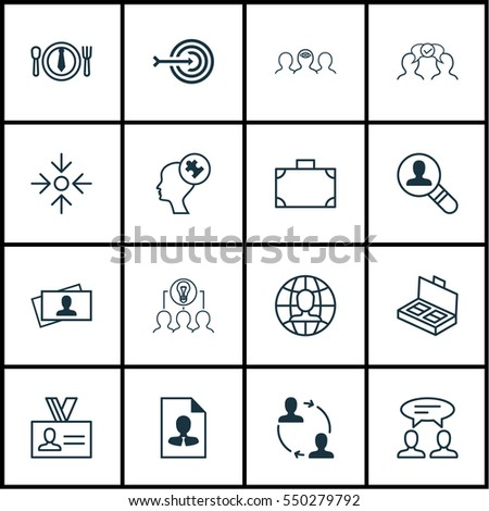 Set Of 16 Business Management Icons. Includes Human Mind, Global Work, Collaborative Solution And Other Symbols. Beautiful Design Elements. #550279792