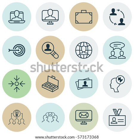 Set Of 16 Business Management Icons. Includes Online Identity, Collaborative Solution, Email And Other Symbols. Beautiful Design Elements. #573173368