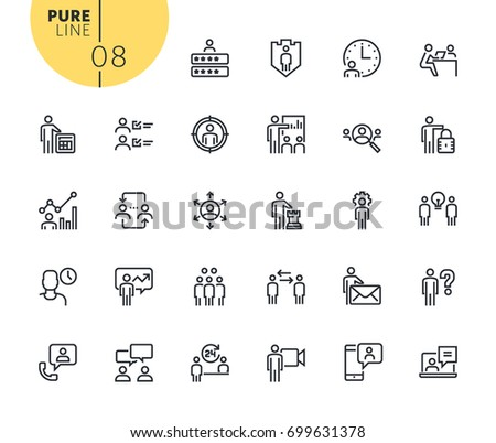 Set of business management icons. Modern outline web icons collection for web and app design and development. Premium quality vector illustration of thin line web symbols. #699631378
