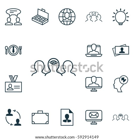Set Of 16 Business Management Service Icons. Includes Email, Cooperation, Portfolio And Other Service Icon Symbols. Beautiful Design Elements. #592914149