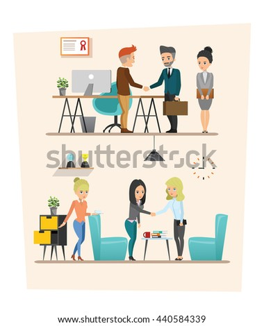 set of Business meeting. Teamwork shared working. Vector design A