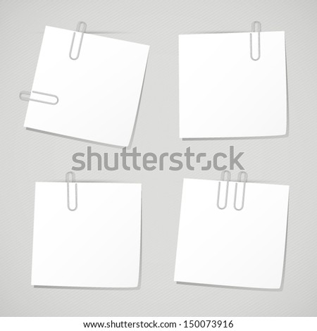 Set of business memo note with clip. Collection of white reminder notes on grey background