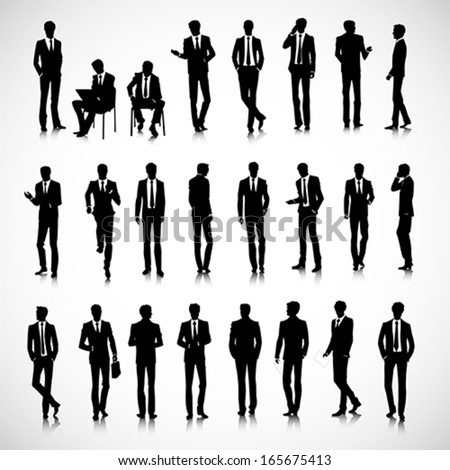 set of business men silhouettes