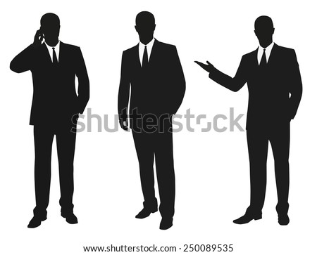 Set of business men. Vector isolated silhouettes