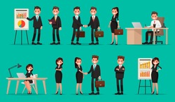 Set of business people and situations. Presentation, agreement, a handshake, work at the computer. Vector illustration in a flat style