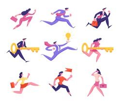 Set of Business People Characters Running to Success. Successful Businesswoman Businessman Leaders Run to Finishing Line in Marathon Challenge. Work Leadership Concept. Cartoon Vector Illustration