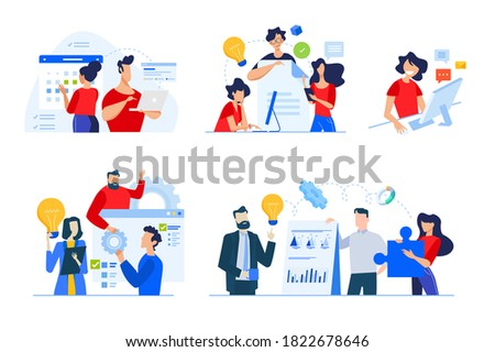 Set of business people concepts. Vector illustrations of startup, time management, project workflow, business plan, brainstorming, internet communication, teamwork.