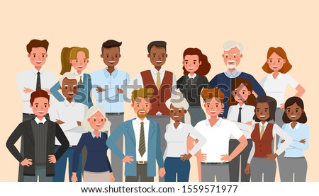 Set of business people group character vector design presentation in various action.