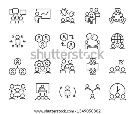 set of business people icons, such as meeting, team, structure, communication, member, group
