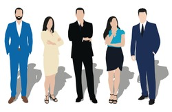 Set of business people illustrations. Men and women at work. Teacher, lawyer, manager, salesman, dealer, merchant, model, secretary, office workers. Formal dress, clothes