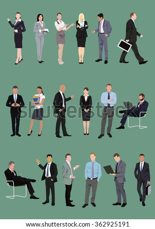 Set of business people, managers, office characters in various poses