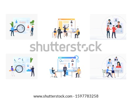 Set of business people picking up staff of potential workers. Flat vector illustrations of recruitment agencies, applicants. Hr, employment concept for banner, website design or landing web page