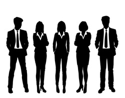 Set of business people, vector silhouettes, group men and women, black and white colors, isolated on white background