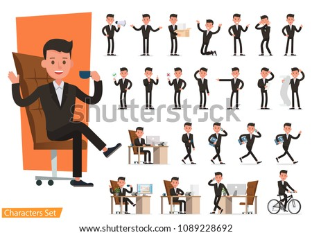 Set of business people wearing brown suit and working character vector design. Presentation in various action with emotions, running, standing and walking.