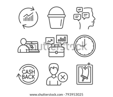 Set of Business portfolio, Online education and Cashback icons. Bucket, Update data and Messages signs. Time, Remove account and Window cleaning symbols. Job interview. Internet lectures. Vector