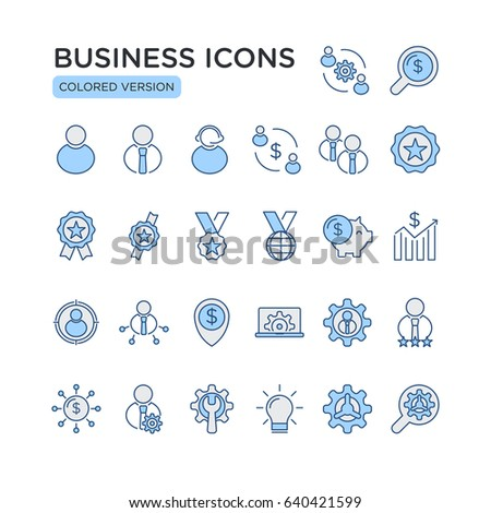 Set of Business Related Vector Line Icons. Contains such Icons as Businessman,Synergy, Business Partners,Money Saving,Investment and more.