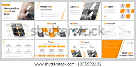 set of business slides for presentation with diagonal and transparent design elements and a place for photos. Templates of white color with orange, infographics for corporate reports and advertisement