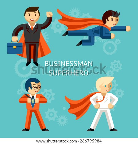 set of business superheroes