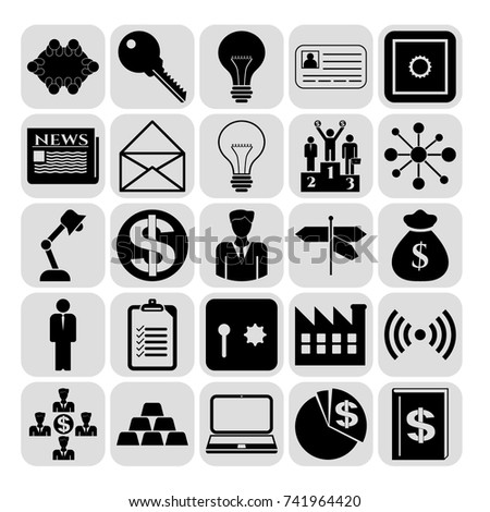 Set of 25 business symbols of icons. Collection. Amazing desing. Vector Illustration.