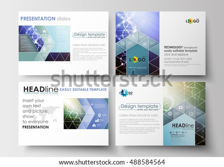 Set of business templates for presentation slides. Easy editable abstract layouts in flat design. DNA molecule structure, science background. Scientific research, medical technology. #488584564
