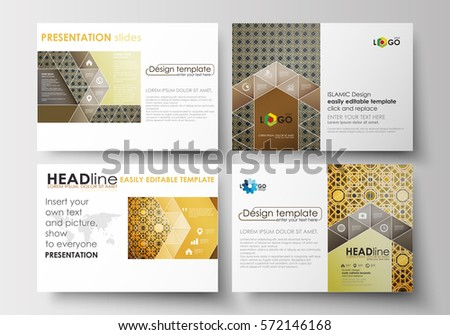 Set of business templates for presentation slides. Easy editable layouts in flat design. Islamic gold pattern, overlapping geometric shapes forming abstract ornament. Vector golden texture.
