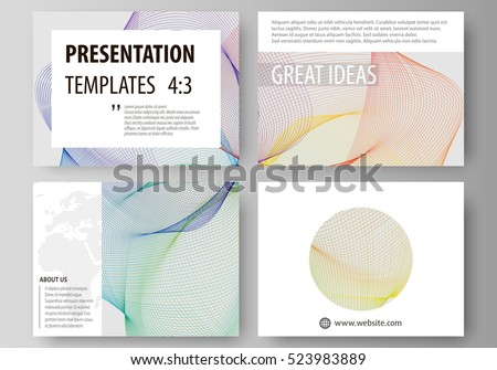 Set of business templates for presentation slides. Easy editable layouts in flat style, vector illustration. Colorful design with waves forming abstract beautiful background.