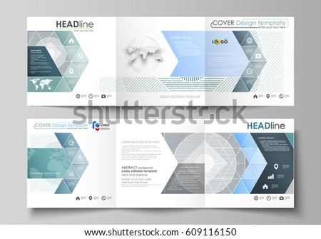 Business tri fold brochure template design with geometric shapes set of business templates for tri fold square design brochures leaflet cover abstract vector saigontimesfo