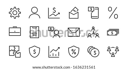 Set of business vector line icons. It contains user symbols, dollar pictograms, gears, briefcase, puzzles, envelope, percentage, messages, schedule, and more. Editable 460x460 pixels