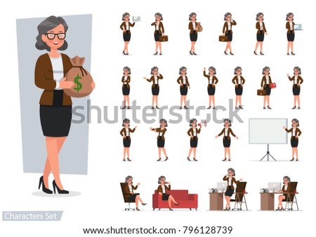 Set of Business woman character vector design doing different gestures. Presentation in various action with emotions, running, standing, walking and working.