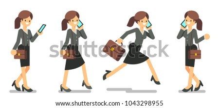 set of business woman with