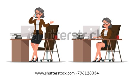 set of business woman working in office character vector design