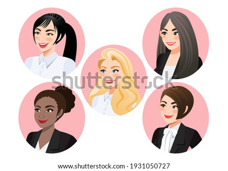set of business women faces in