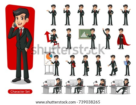 set of businessman cartoon