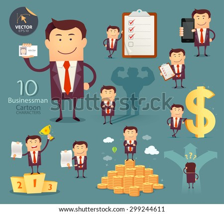Set of businessman cartoon characters. Vector illustration. Successful business.
