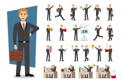 Set of Businessman character design. Vector illustration.
