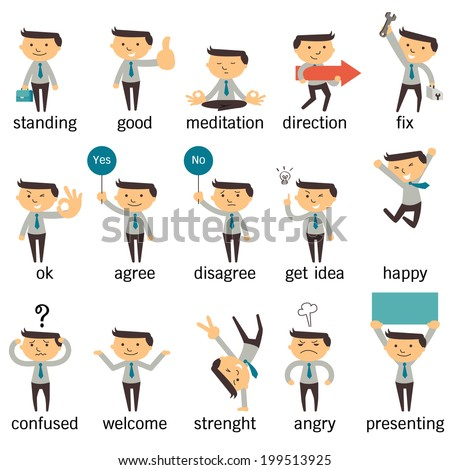 set of businessman character or