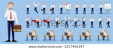 Set of businessman characters on a blue background in various poses. Flat illustrations on blue background.