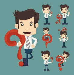 Set of businessman characters poses with question marks , eps10 vector format