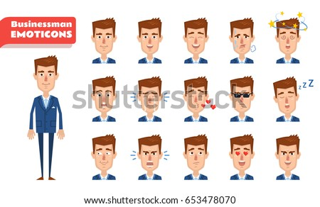 Set of businessman emoticons. Businessman emojis showing diverse facial expressions. Happy, sad, angry, dazed, surprised, serious, tired, sleepy and other emotions. Simple vector illustration