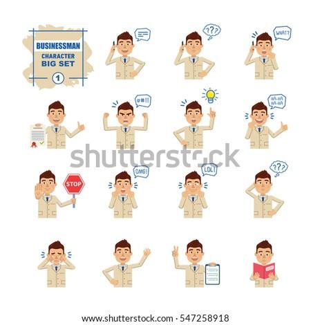 set of businessman emoticons