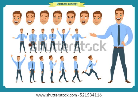 Set of businessman presenting in various action.Pupil character for your scenes.Parts of body template for design work and animation.Face,body elements.Isolated on white background.Flat style.business