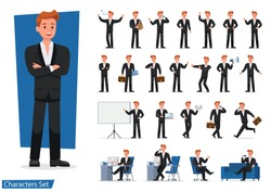 set of Businessman showing different gestures character vector design.