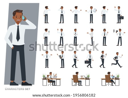 Set of businessman wear white suit and blue tie character vector design. Presentation in various action with emotions, running, standing and walking.